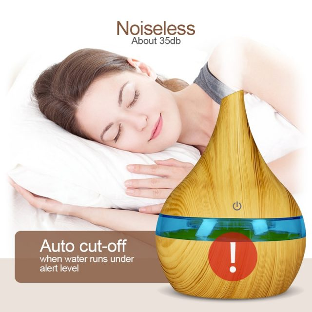 Electric Ultrasonic Aromatherapy Wood Grain Essential Oil Humidifier Diffuser